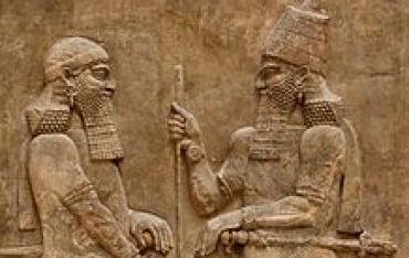 bassorilievo che rappresenta Sargon II e un altro uomo