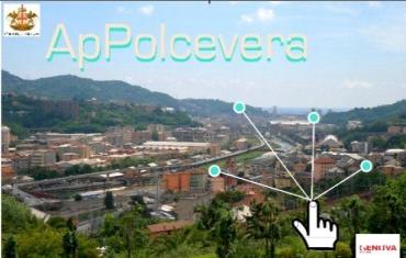 veduta della Valpolcevera e il logo della nuova app