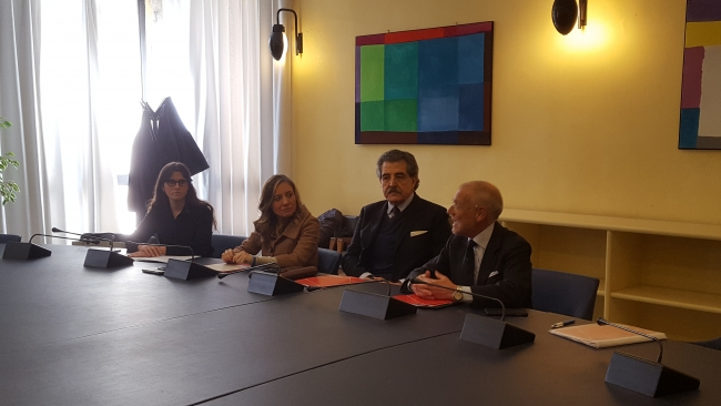 Bordilli, Palombo, Balleari durante la conferenza stampa