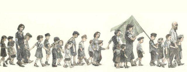 Bambini ebrei in marcia dal campo di concentramento