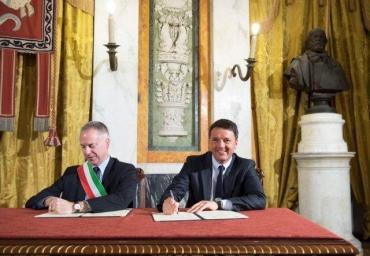 Marco Doria, Matteo Renzi. Foto T.Barchielli - Presidenza del Consiglio dei Mini
