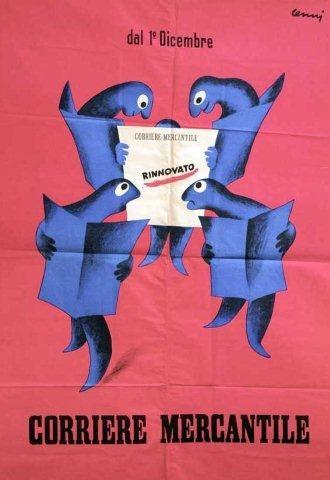 manifesto che pubblicizza il Corriere Mercantile