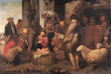 l'Adorazione dei pastori, olio su tela di Antonio Travi detto il Sestri