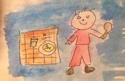 disegno di bambino che mangia
